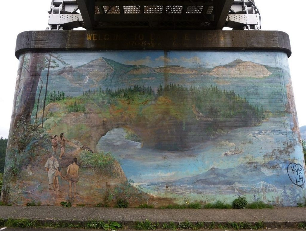 Bridge of the Gods - Mural by Larry Kangas, Photo by Stefan Krause